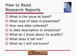 how to read research reports