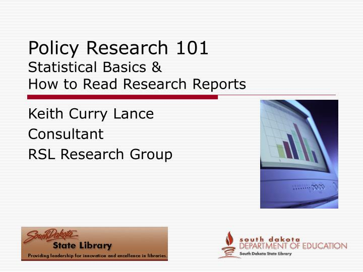 policy research 101 statistical basics how to read research reports