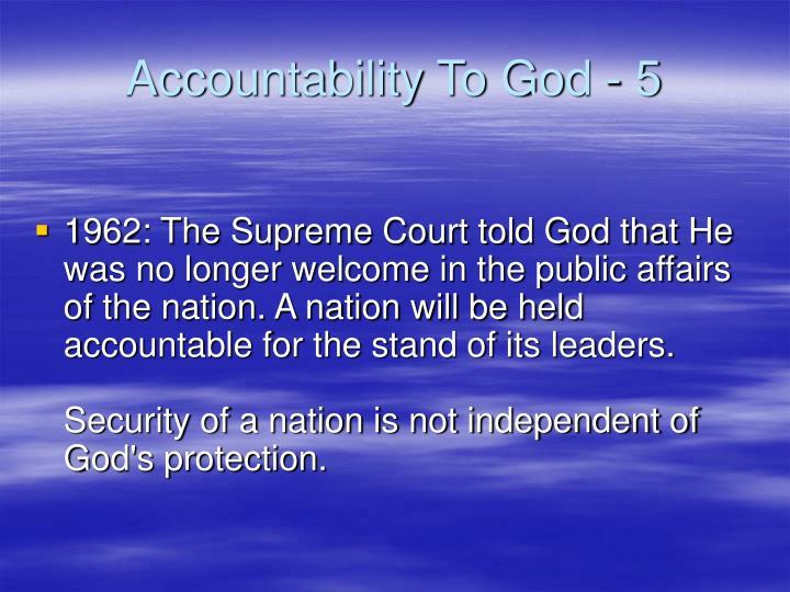 Accountability To God - 5