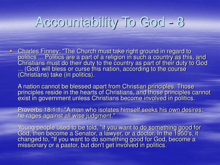 Accountability To God - 8