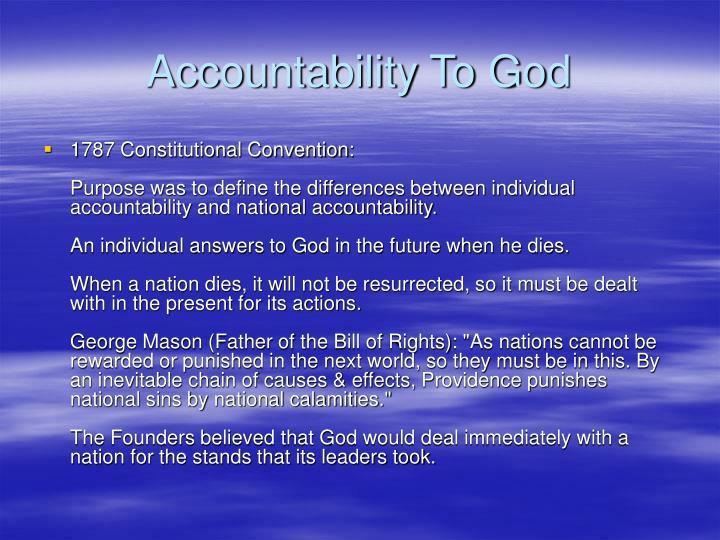 Accountability To God