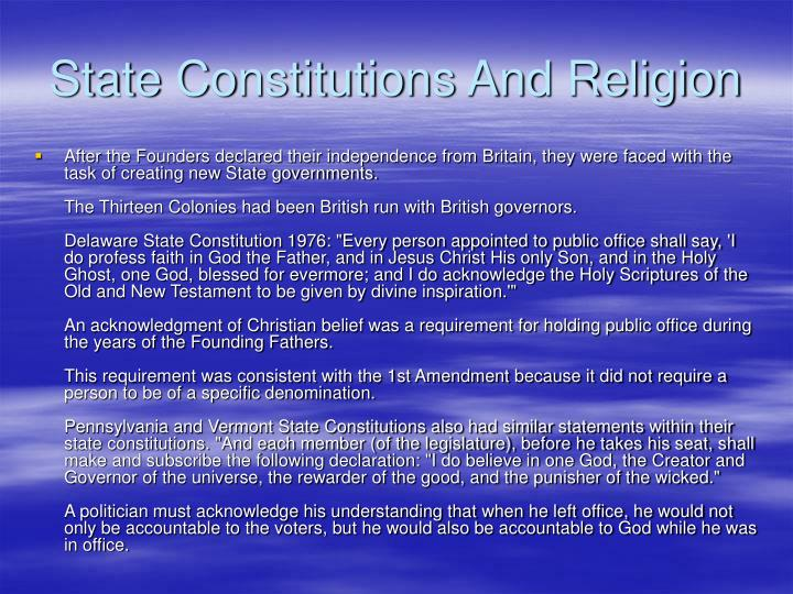 State Constitutions And Religion