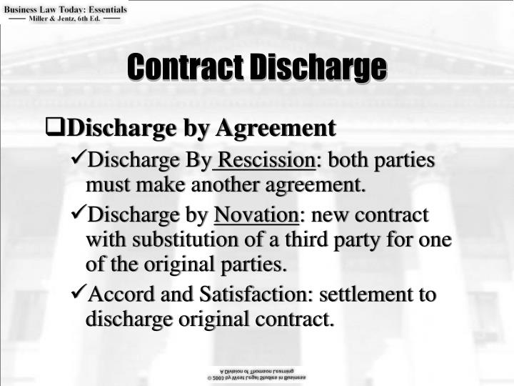 contract discharge by frustration 'the term frustration refers to the discharge of a contract by some outside event for which neither party is responsible which makes further performance  in most cases now the rights and liabilities of parties to a contract discharged by frustration are regulated by the law reform (frustrated.