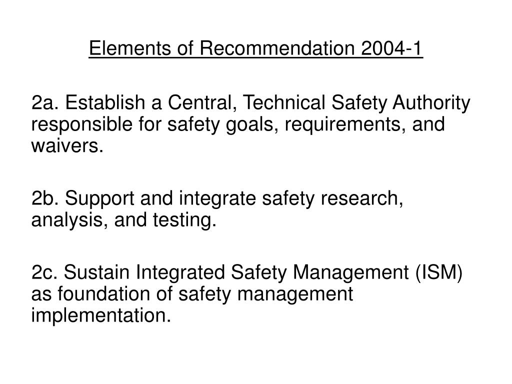 Elements of Recommendation 2004-1