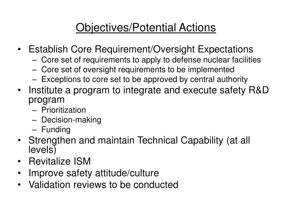 Objectives/Potential Actions