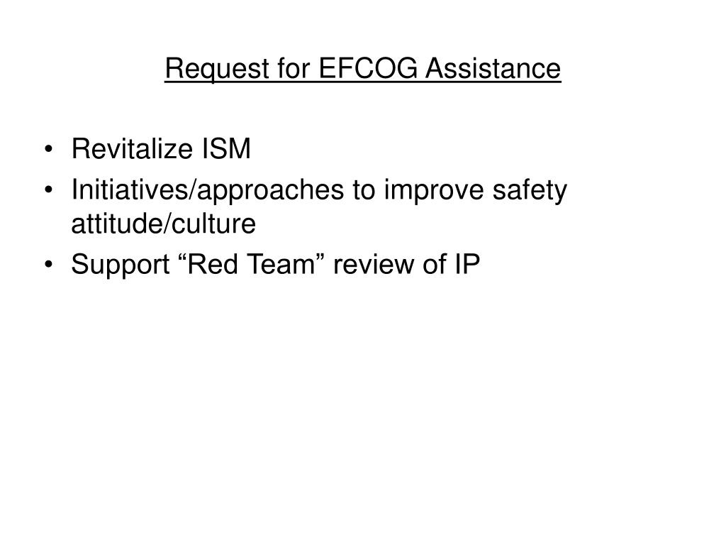 Request for EFCOG Assistance