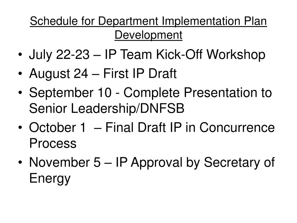 Schedule for Department Implementation Plan Development