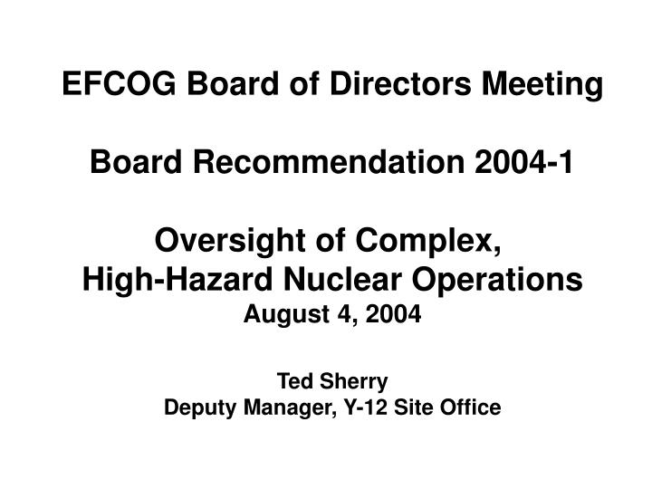 EFCOG Board of Directors Meeting