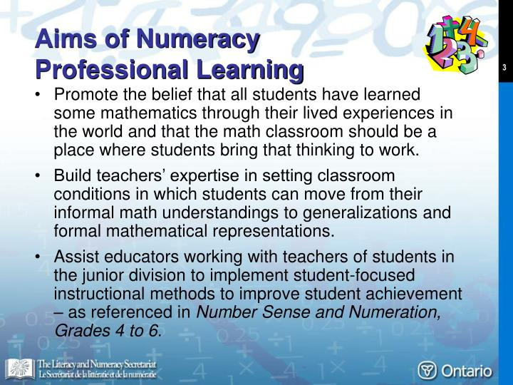 Aims of numeracy professional learning