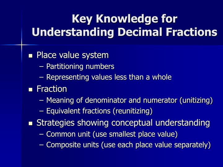 Key knowledge for understanding decimal fractions