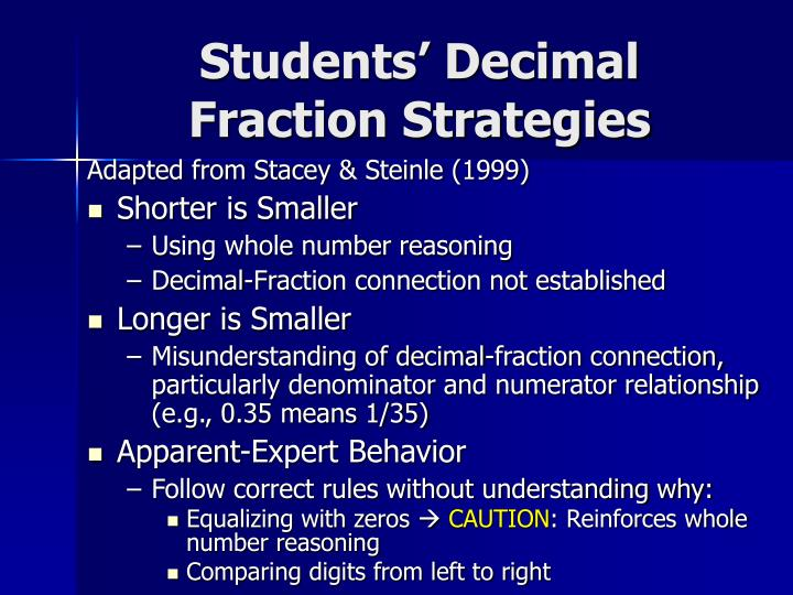 Students decimal fraction strategies