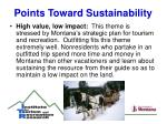 points toward sustainability