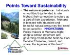 points toward sustainability18