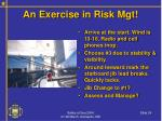 an exercise in risk mgt24