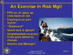 an exercise in risk mgt25