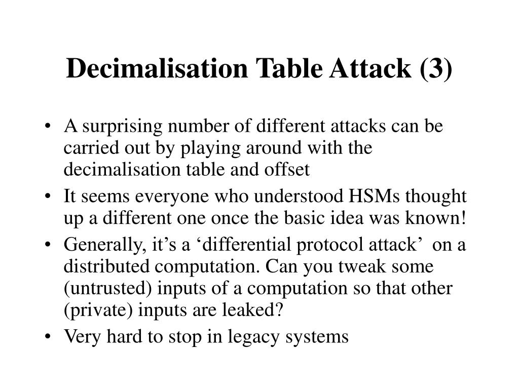 Decimalisation Table Attack (3)
