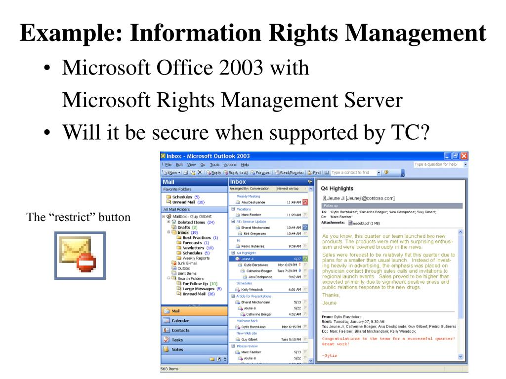 Example: Information Rights Management