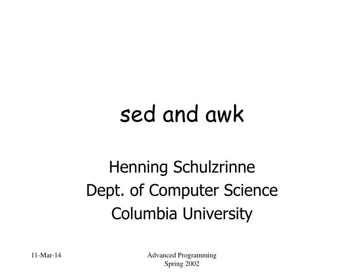 Sed and awk