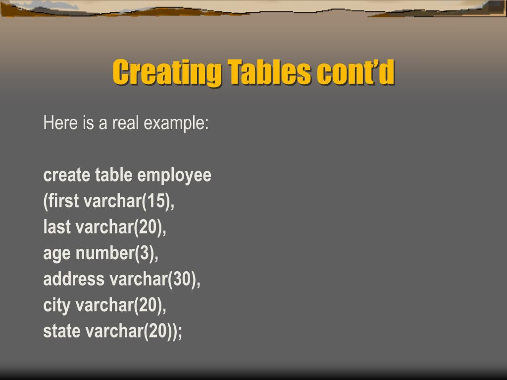 Creating Tables cont'd