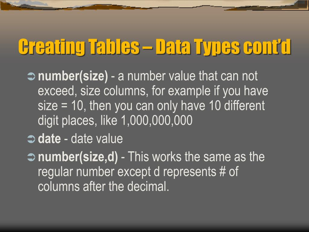 Creating Tables – Data Types cont'd