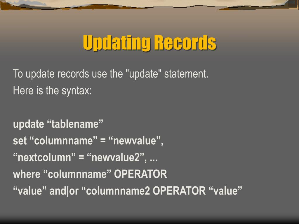 Updating Records