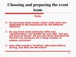 choosing and preparing the event team