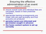 ensuring the effective administration of an event pages 32 37 in nap2002