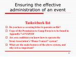 ensuring the effective administration of an event