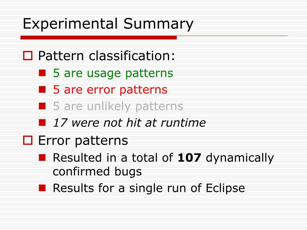 Experimental Summary