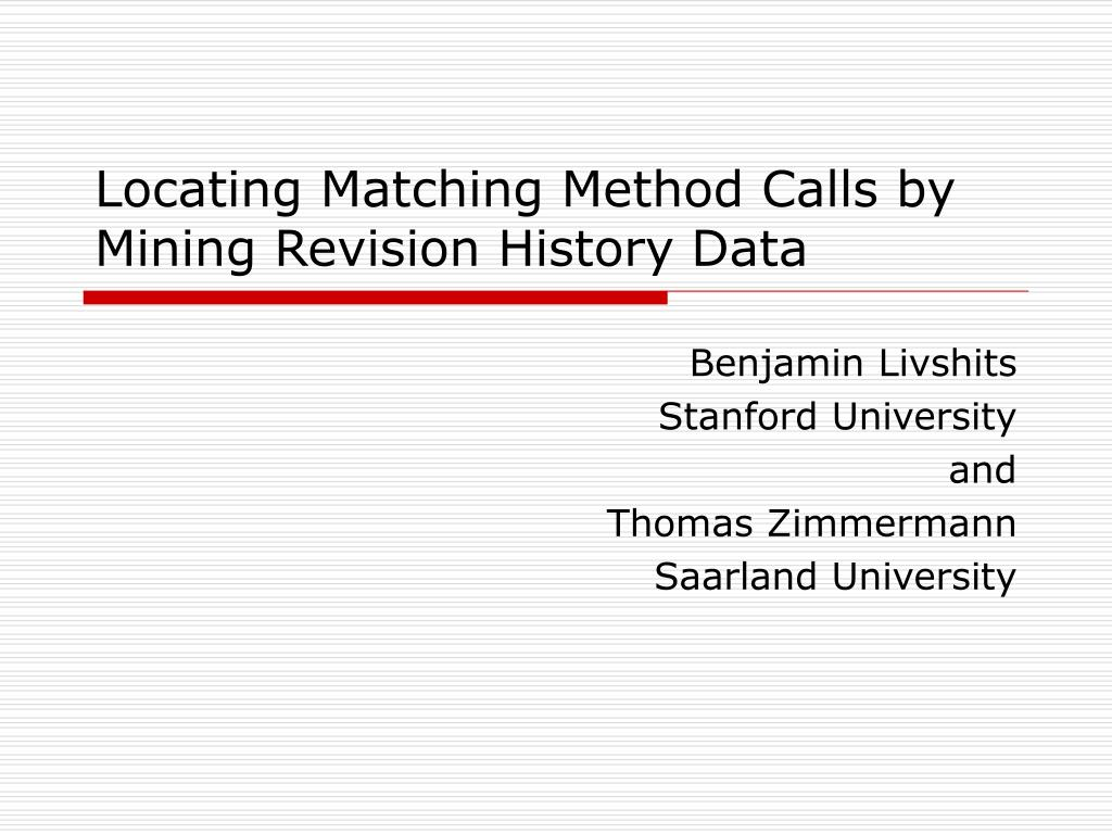 Locating Matching Method Calls by Mining Revision History Data
