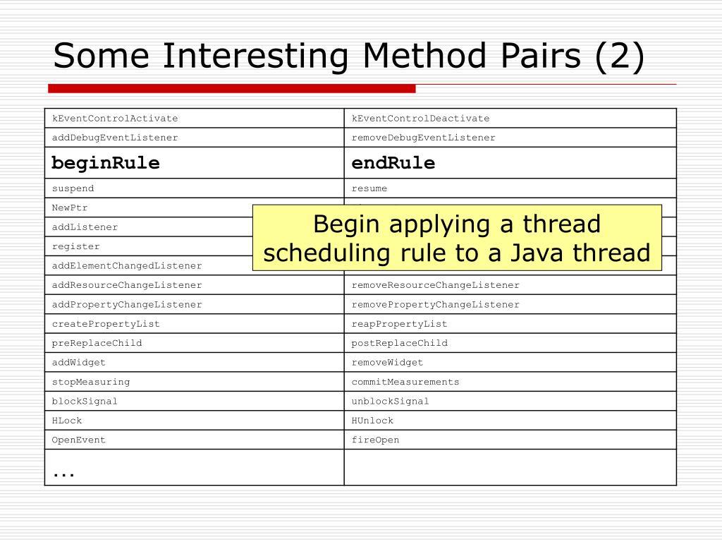 Some Interesting Method Pairs (2)