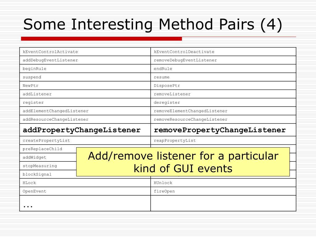 Some Interesting Method Pairs (4)