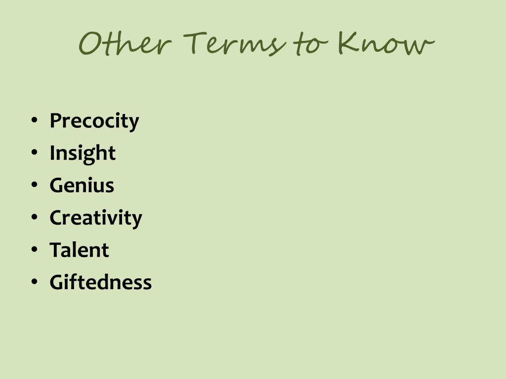 Other Terms to Know