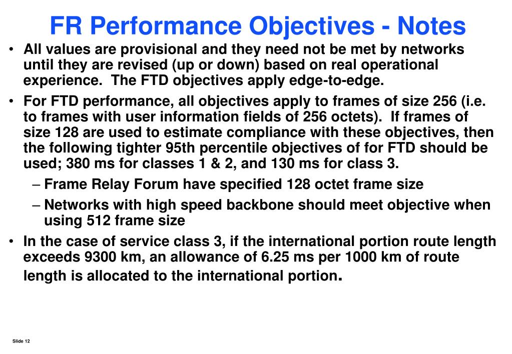 FR Performance Objectives - Notes