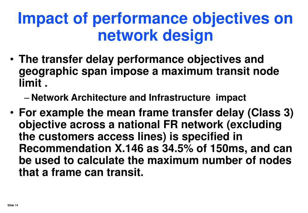 Impact of performance objectives on network design