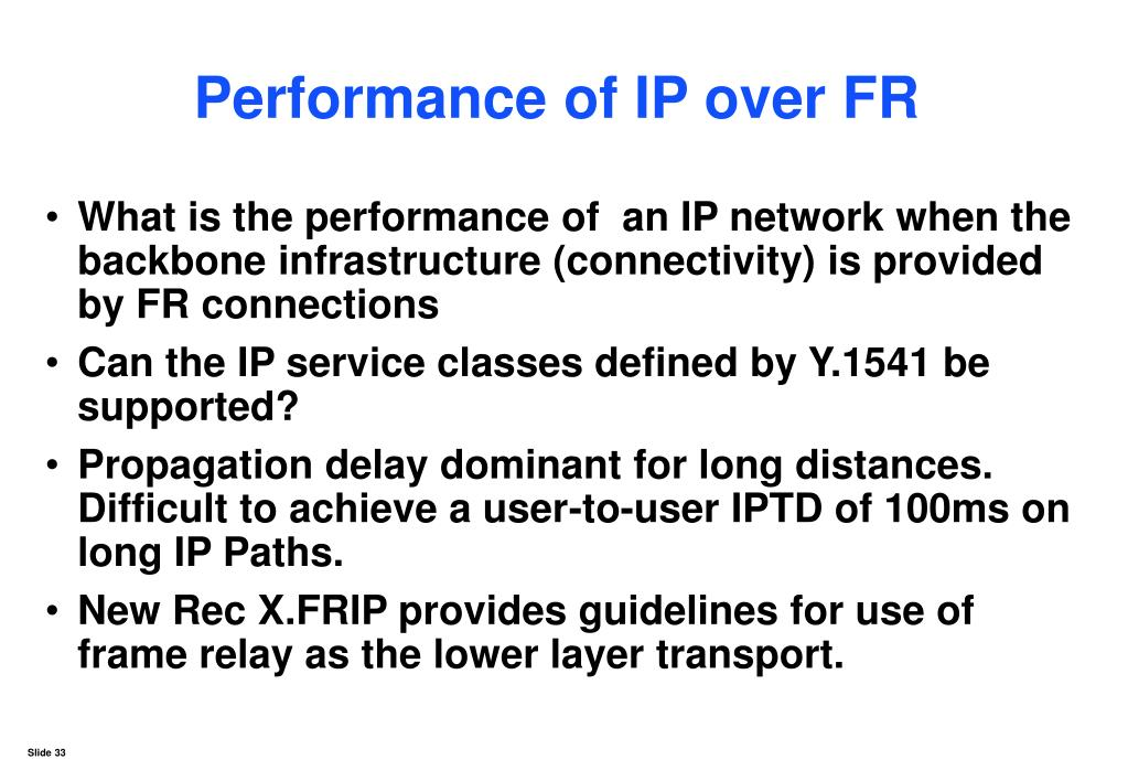Performance of IP over FR