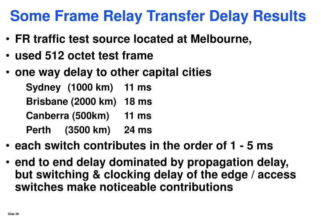 Some Frame Relay Transfer Delay Results