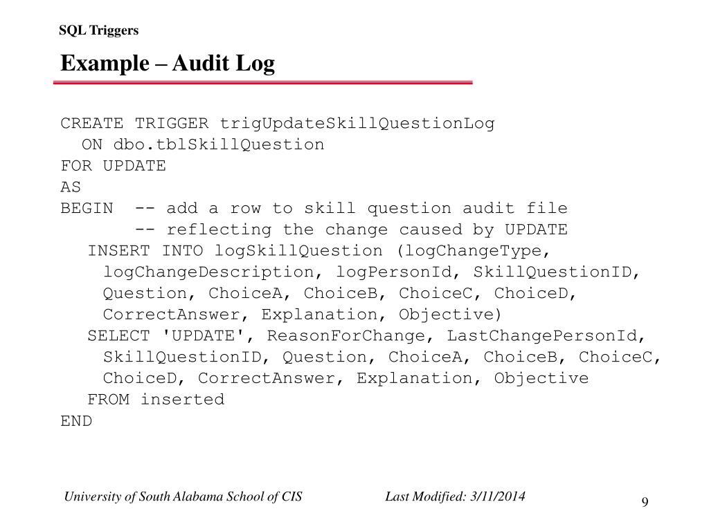 Example – Audit Log
