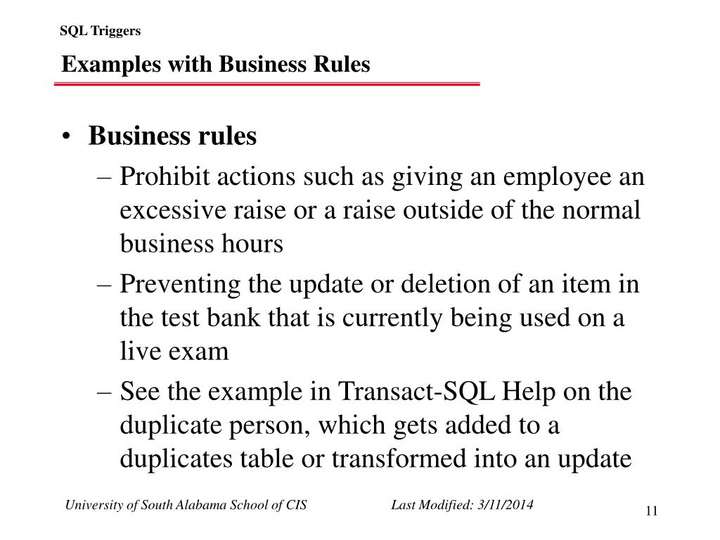 Examples with Business Rules