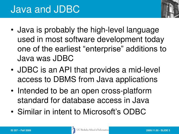 Java and jdbc