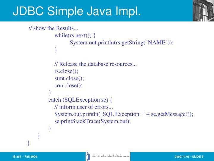 JDBC Simple Java Impl.