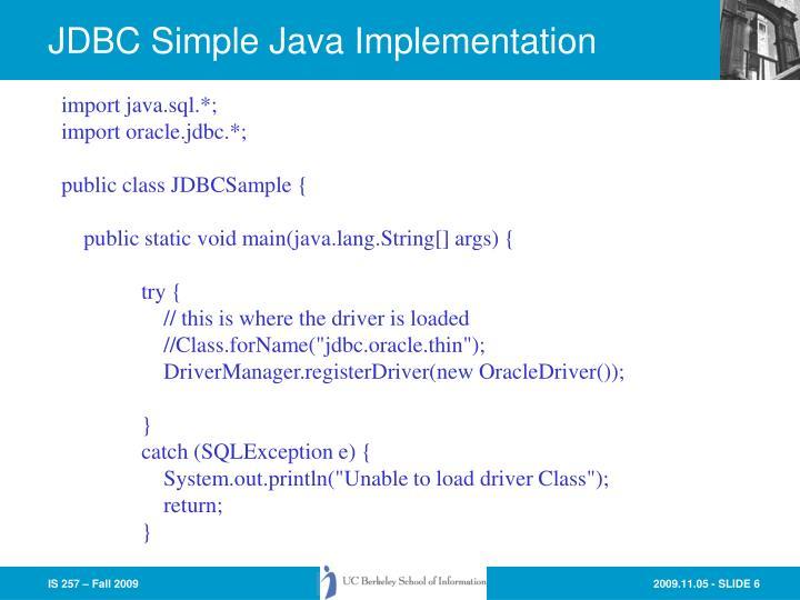 JDBC Simple Java Implementation