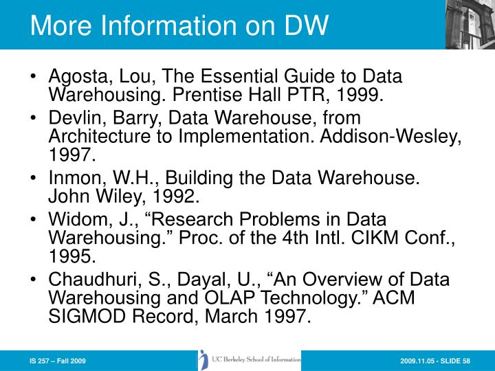 More Information on DW