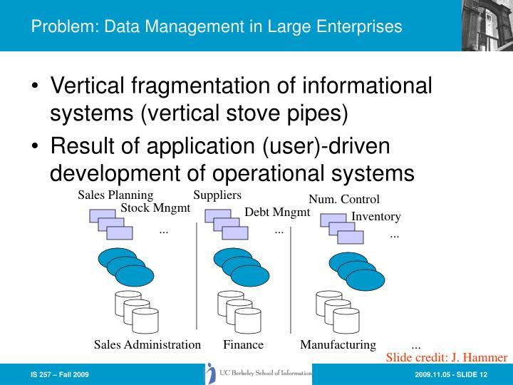 Problem: Data Management in Large Enterprises