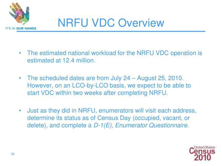 The estimated national workload for the NRFU VDC operation is estimated at 12.4 million.