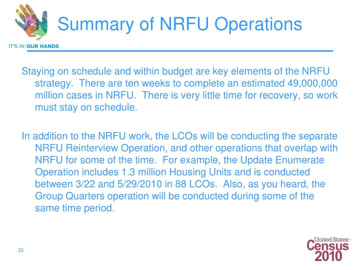 Staying on schedule and within budget are key elements of the NRFU strategy.  There are ten weeks to complete an estimated 49,000,000 million cases in NRFU.  There is very little time for recovery, so work must stay on schedule.