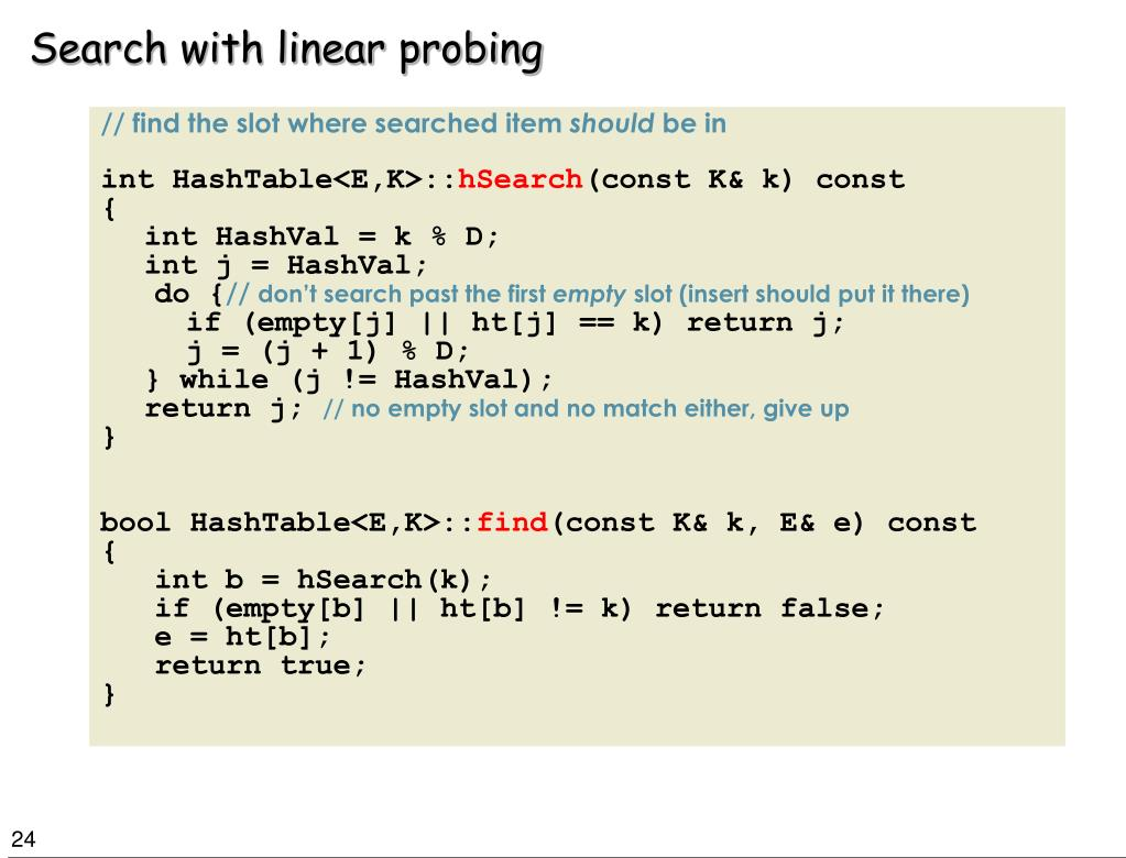 Search with linear probing