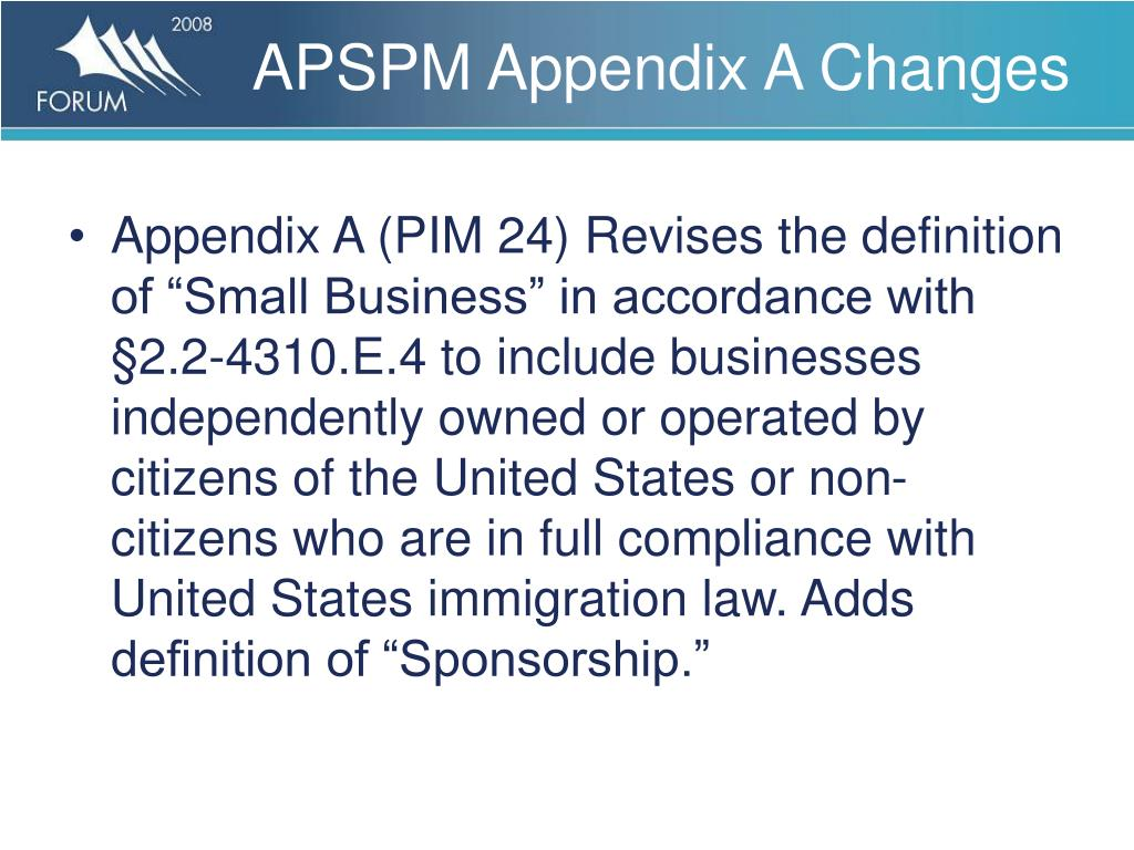APSPM Appendix A Changes