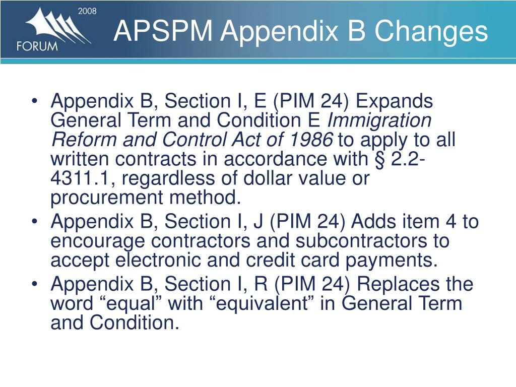 APSPM Appendix B Changes