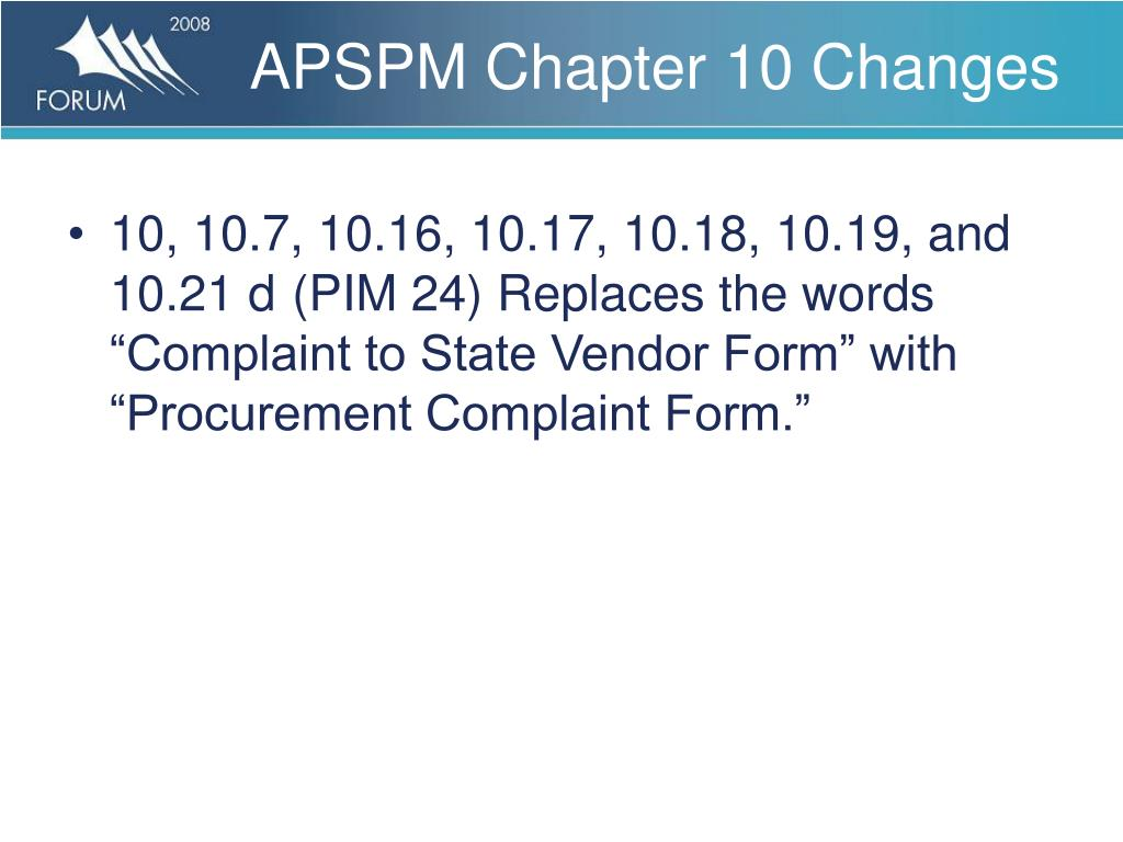 APSPM Chapter 10 Changes